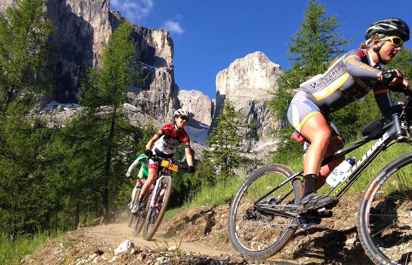 Mountain biker on a mountain path in the Dolomites