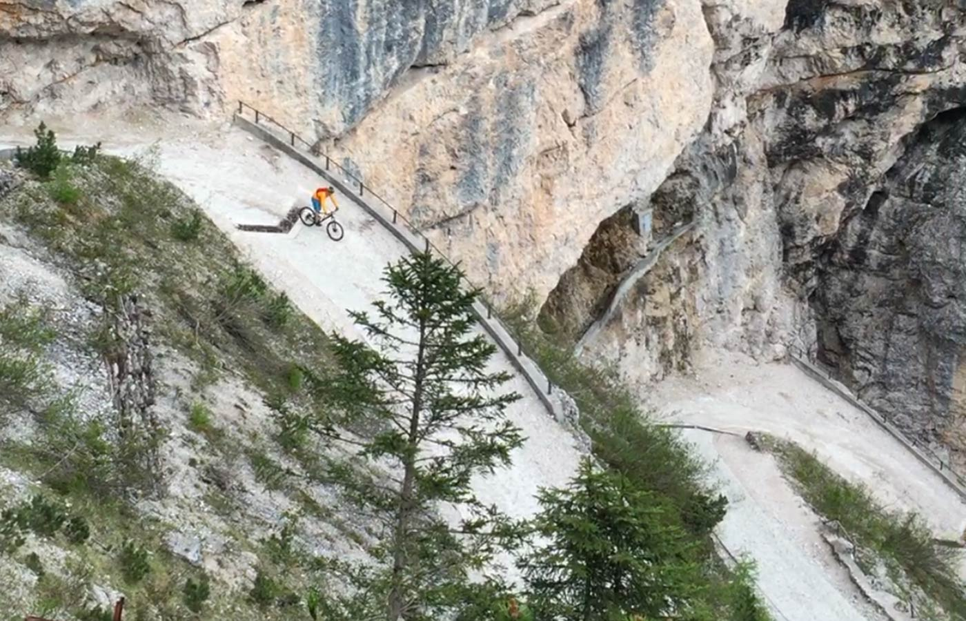 Downhill biker in Dolomites